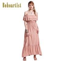 Bohoartist Phục Dài Dresses Rắn Màu Hồng Ruffles Slash Cổ Tắt Vai Cao Eo Phụ Nữ Summer Bohemia Thanh Lịch Maxi Dress