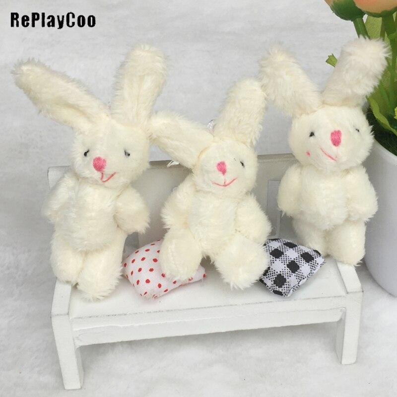 100 sztuk/partia Kawaii pluszowe króliczki kwiat królik miękkie wypchane zabawki dla zwierząt mały wisiorek przez telefon torby prezenty na ślub GMR077 w Pluszowe zwierzęta od Zabawki i hobby na  Grupa 1