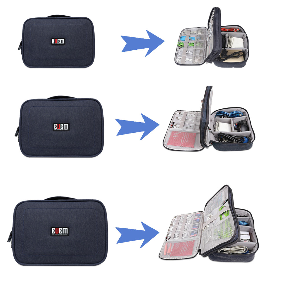 Attirant BUBM Gadget Organizer Case Digital Storage Bag Electronics Organizer For Chargers  Cables Hard Drive IPad Mini Protection Pouch In Storage Bags From Home ...