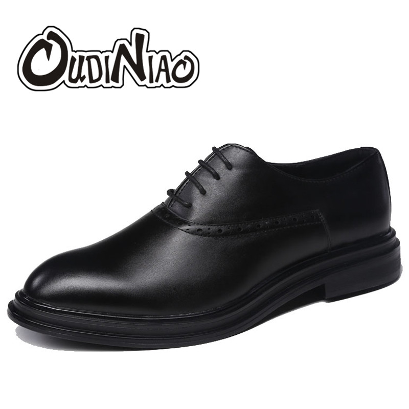 OUDINIAO Men Shoes Fashion Formal Official Pointed Toe Mens Shoes Casual Oxfords Classic Black Lace Up Dress Shoes PU Italian blaibilton 2017 men shoes fashion high top quality pu personality letter platform mens shoes casual designer black blue sd6117