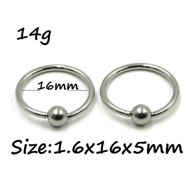 16G Surgical Steel Large Sized Captive Bead Ring/ Nose Ring Lot/10pcs