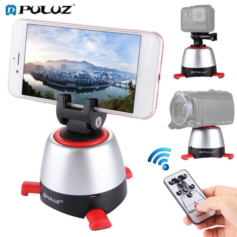 PULUZ Bluetooth 360 Degree Rotation Panoramic Tripod Head Rotating Pan Head with Remote Controller for GoPro Smartphone DSLR