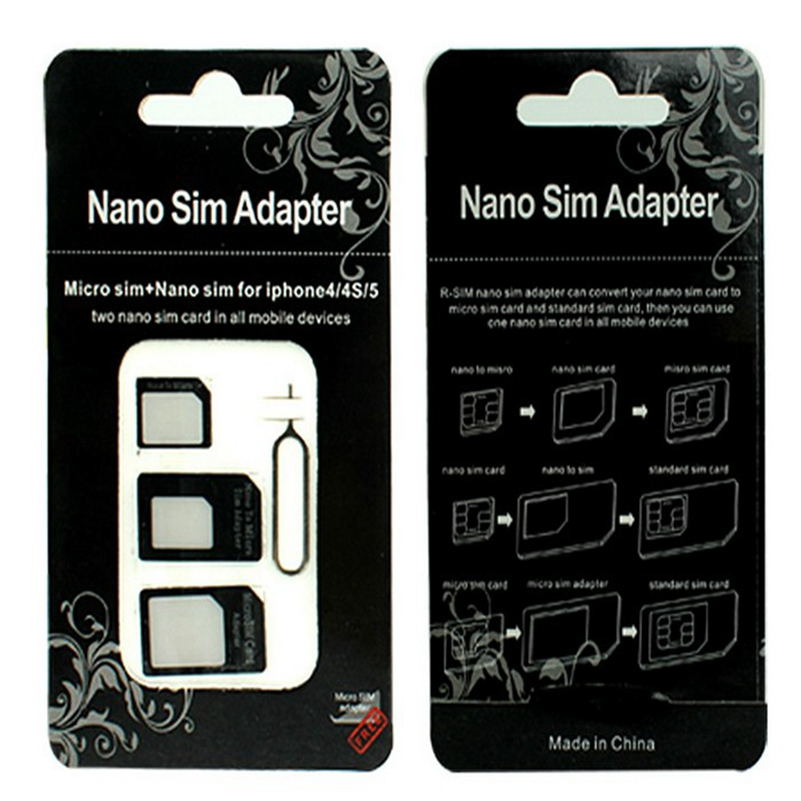 500pcs/lot Nano sim Adapter 4 in 1 Nano SIM Card to Micro Standard Adapter Adaptor Converter Set For iPhone 6 7 8 5 4S 4 ...