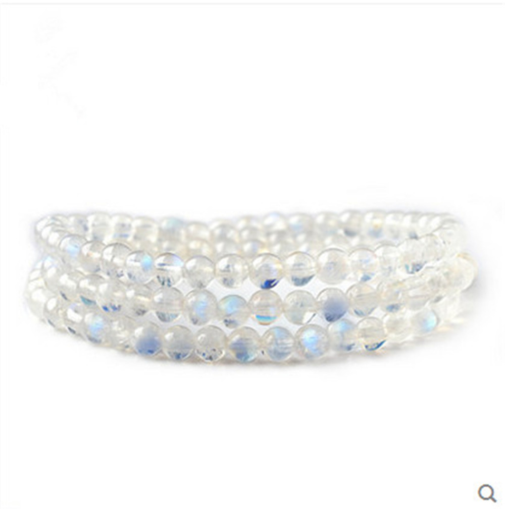 2018 Newly Natural Blue Light Ice Moonstone Crystal 108 Pray Beads Bracelet AAAA 4mm Fashion Women Men Crystal Stone Bracelet цена и фото