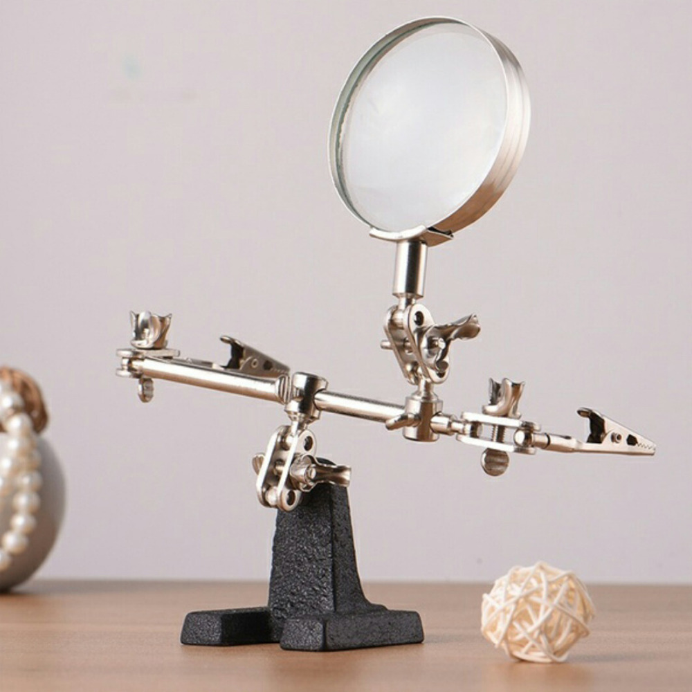 60mm 5X Third Hand Soldering Iron Stand Helping Clamp Vise Clip Tool Magnifying Glass Wholesale Electronic Appliance Repair