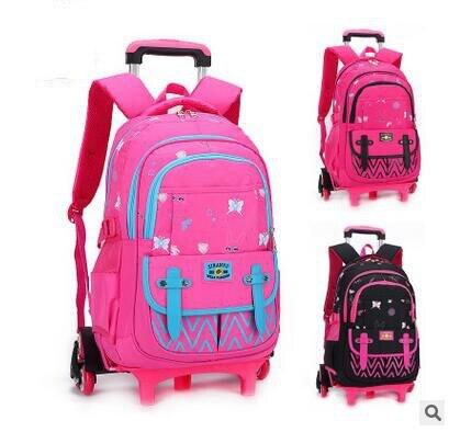 Trolley School bag On wheels School Rolling backpack Travel luggage bag Trolley School backpack wheeled bag  for girl student