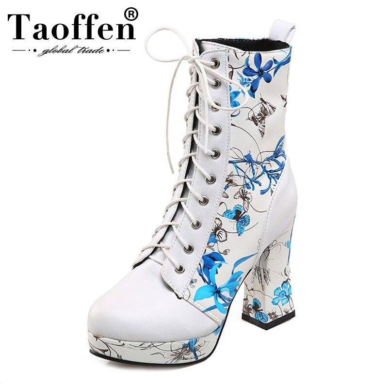TAOFFEN Frauen Schuhe Frauen Stiefel Lace Up High Heel Squared Heels Drucken Blumen Mit Pelz Neue Design Mode Schuhe Größe 33-43