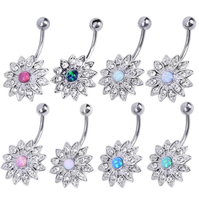 Fashion Elegant Natural Opal Crystal Flower Rhinestone Piercing Fashion  Button Navel Belly Button Rings Nail Body 235044b60c3b