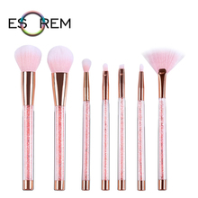 ESOREM Flash Diamonds 7pcs Makeup Brushes Transparent Handle Eyeshadow Brush Dense Fan Shader Loose Powder Pinceau Maquillage