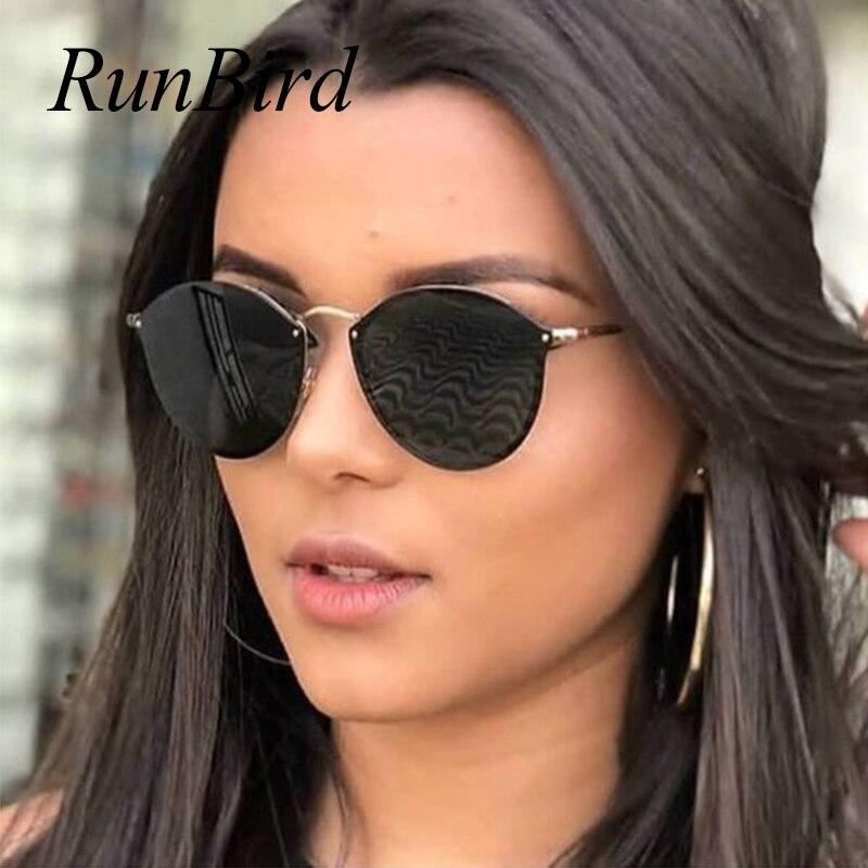 2018 nueva fishion gato ojo gafas de sol mujeres de lujo lindo rimless gafas de sol retro gafas de sol para señoras marca diseñador 1332R