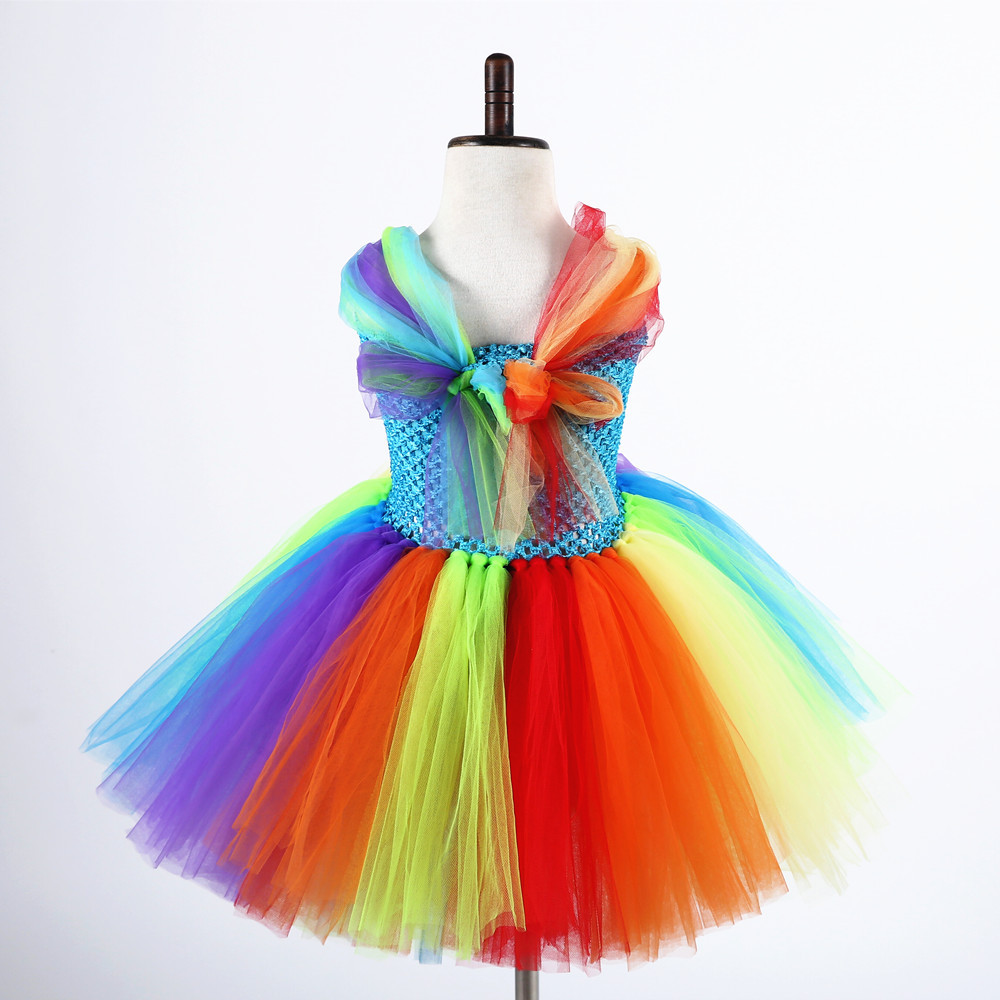 Cartoon Little Pony Kids Girls Fluffy Tulle Dress Vestidos