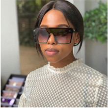 Flat Top Square Sunglasses Celebrity Oversize Women Gradient