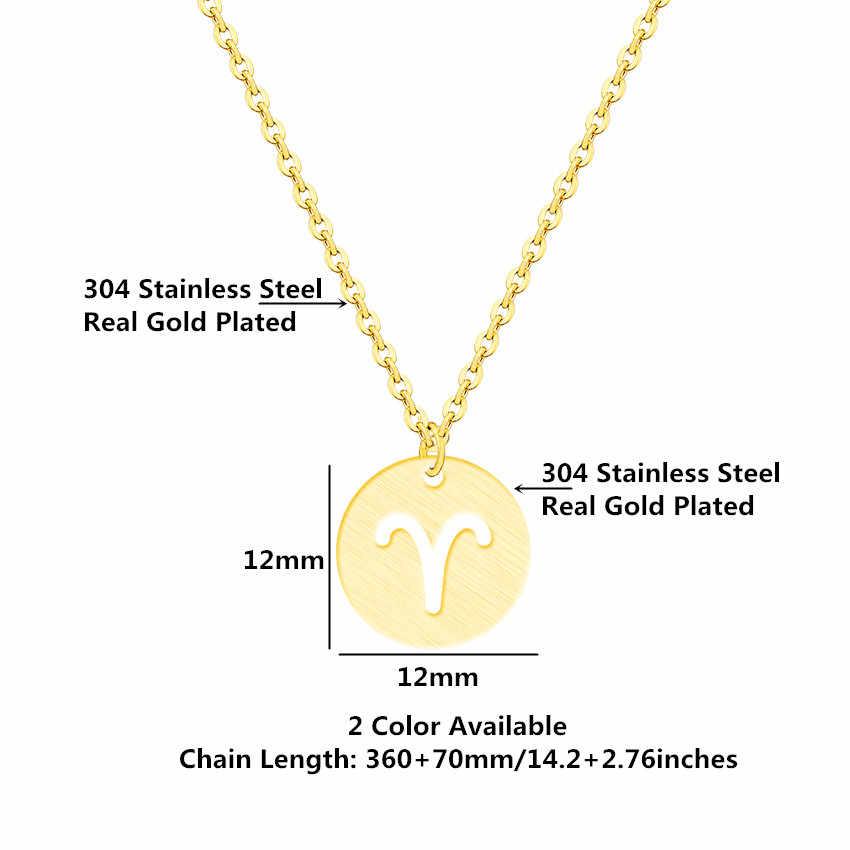 27942202f ... Collares Largos De Moda 2018 Stainless Steel Gold Silver Chain Circle Zodiac  Necklace Women Men Constellation ...