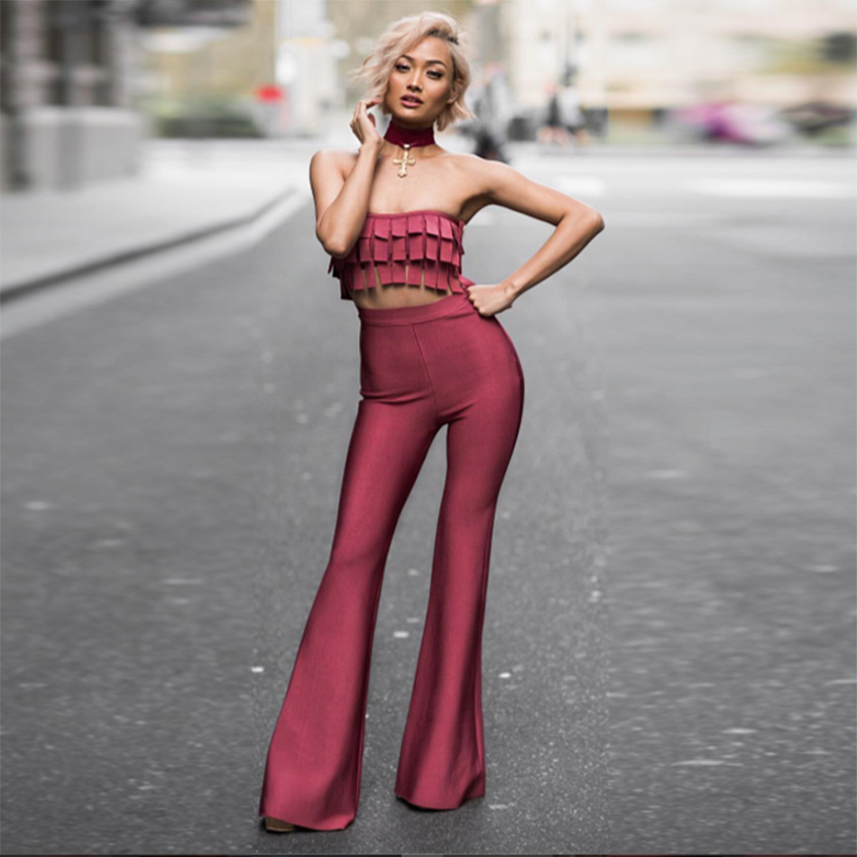 2018 Newest Spring Bandage Jumpsuit Women Celebrity Party 2 Two Piece Set Full Length Sexy Runway Night Out Flare Pants Women