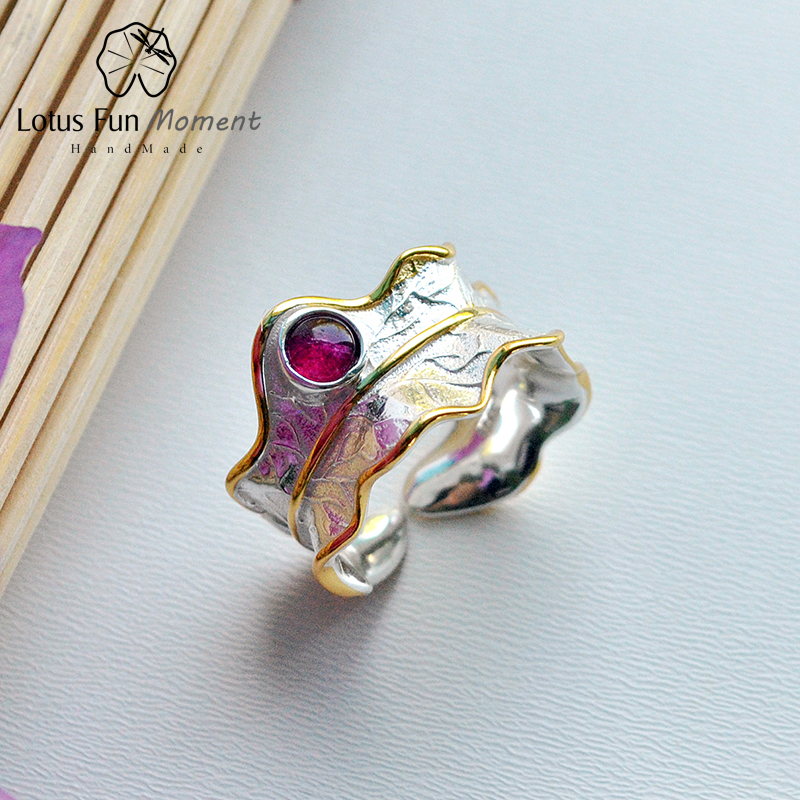 Lotus Fun Moment Real 925 Sterling Silver Natural Tourmaline Handmade Fashion Jewelry Open Peony Leaf Rings for Women Bijoux