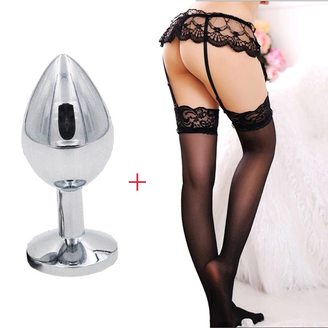 1Kits Cool Silver Stainless Steel Erotic Sex Anal Butt Plug + Sexy Temptation Underwear Sock Adult Sex Toy Product For Men Women