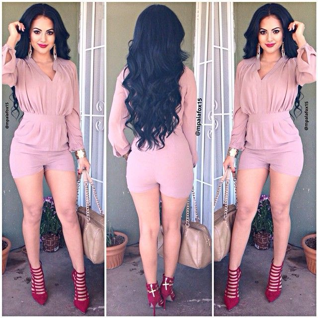 a3c58ee07382 2016 Hot Sale Long Sleeve Styles Pink Trench Short Playsuit Rompers  Jumpsuit Women Bandage Bodycon V