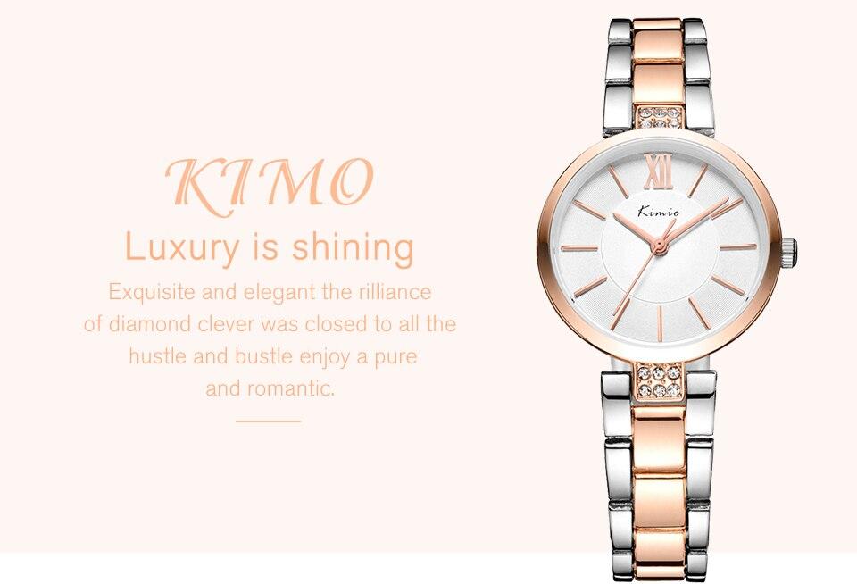 KIMIO Thin Clock Women Fashion Simple Watches Rhinestones Dress Woman Watch Rose Gold Quartz Ladies Women's Watch Wristwatch 7