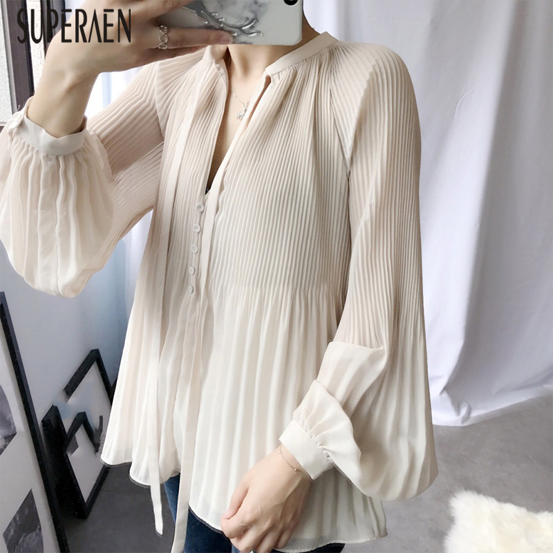 SuperAen 2019 Summer New Fashion Women Chiffon Shirt V-neck Solid Color Ladies Blouses And Tops Long-sleeved Women's Clothing
