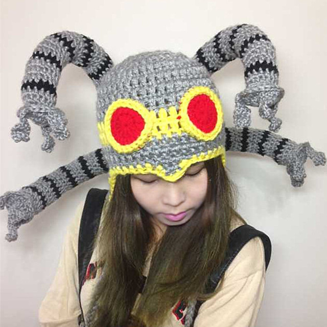 Cool Funny Gift Octopus Beanie Handmade Knitted Hat Men's Winter Warm Cap