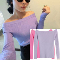 Sexy Autumn And Winter Women Basic Pullover Sweaters Female Slit Neckline Strapless Sweater Thickening Sweater Top