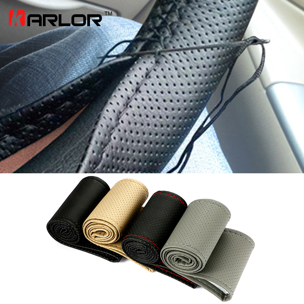 Braid On Steering Wheel Car Steering Wheel Cover With Needles and Thread Artificial leather Diameter 38cm Auto Car Accessories perforated breathable skidproof steering wheel cover diameter 36cm 38cm 40cm fiber leather handlebar braid car covers