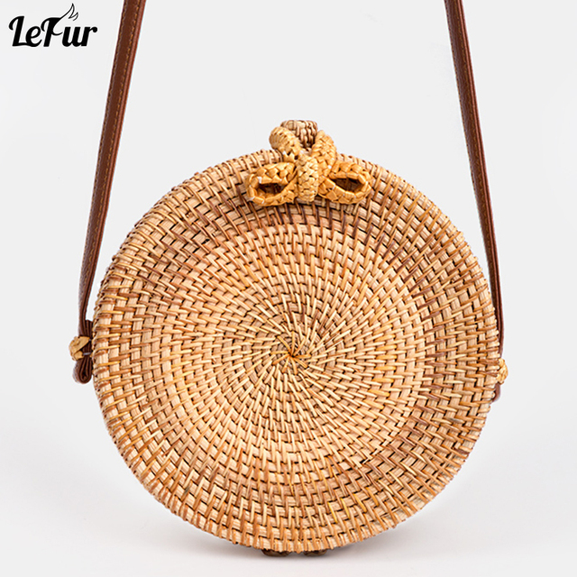 47e5354da497 LEFUR 2018 Новый Для женщин круглый соломенная сумка женская летняя  плетеная Сумка из ротанга сумки через