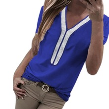 Casual Spring Summer Ladies Tops V Neck Short Sleeve Blouse Women Patchwork Elegant Shirt Plus Size S-5XL