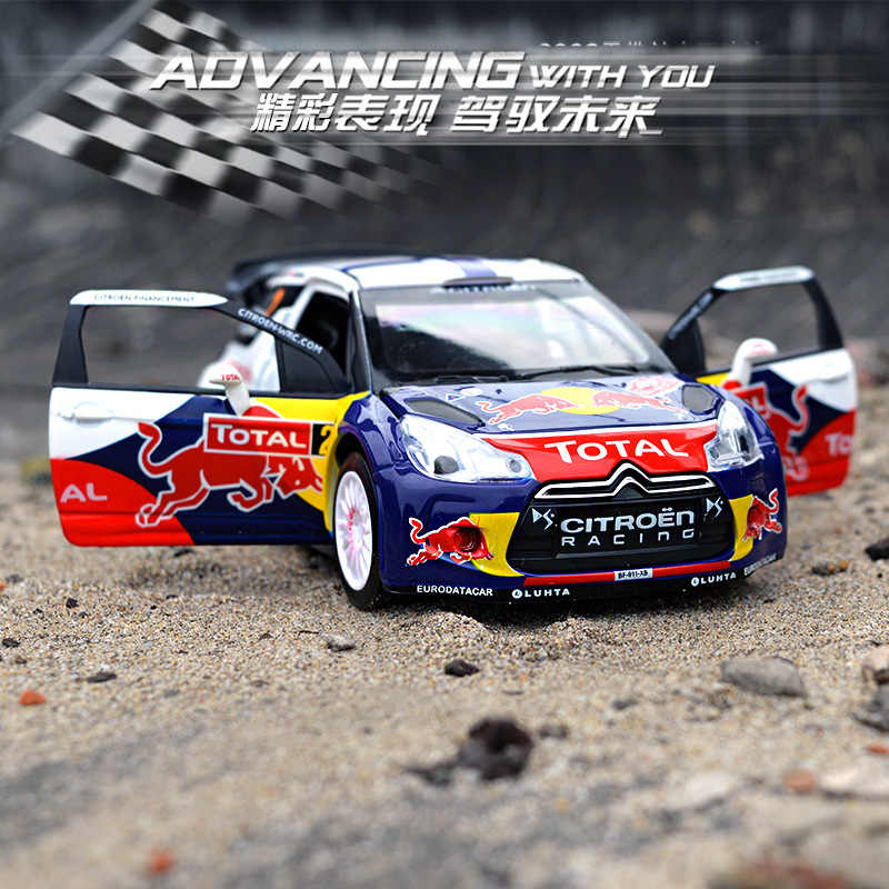 1:32 Diecast Alloy Car Model Toys For Citroen DS3 WRC With Pull Back Function Electronic Toy With Simulation Light And Music