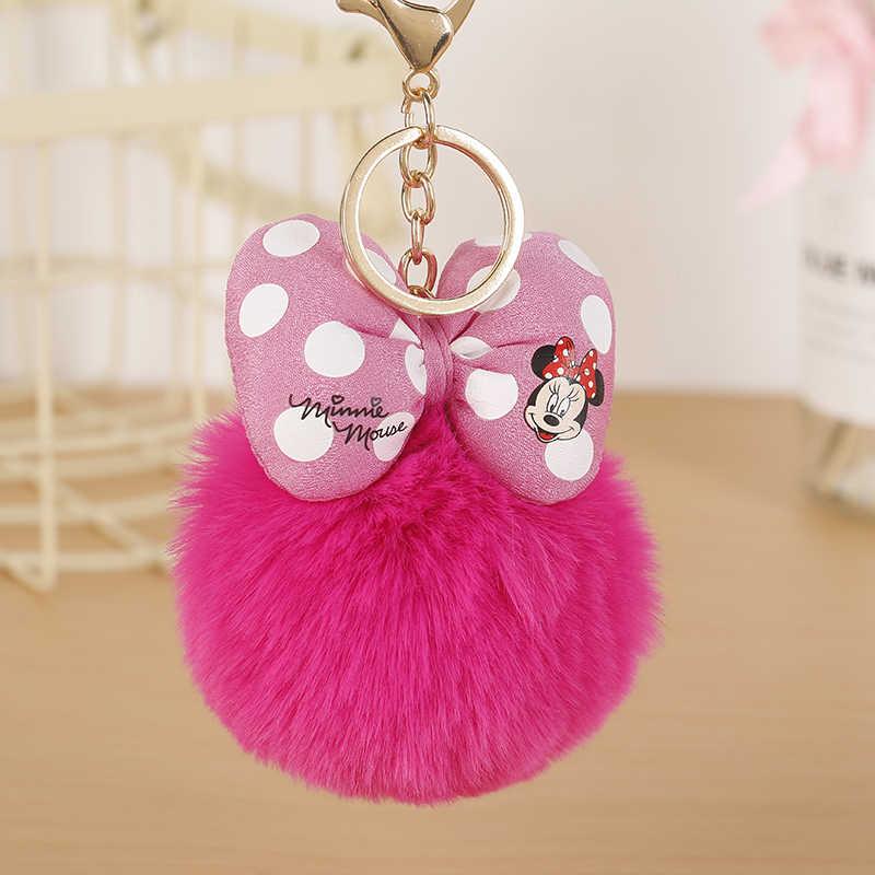Felyskep venda quente pele de coelho mickey pompon bola de pele macia bola chaveiro para as mulheres para carro ou saco chaveiro holderjewelry 298wa