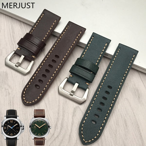 MERJUST Italian Genuine Leather Handmade black green Band Retro Watch Straps 26mm brown for Panerai Pam Man Watch Tool