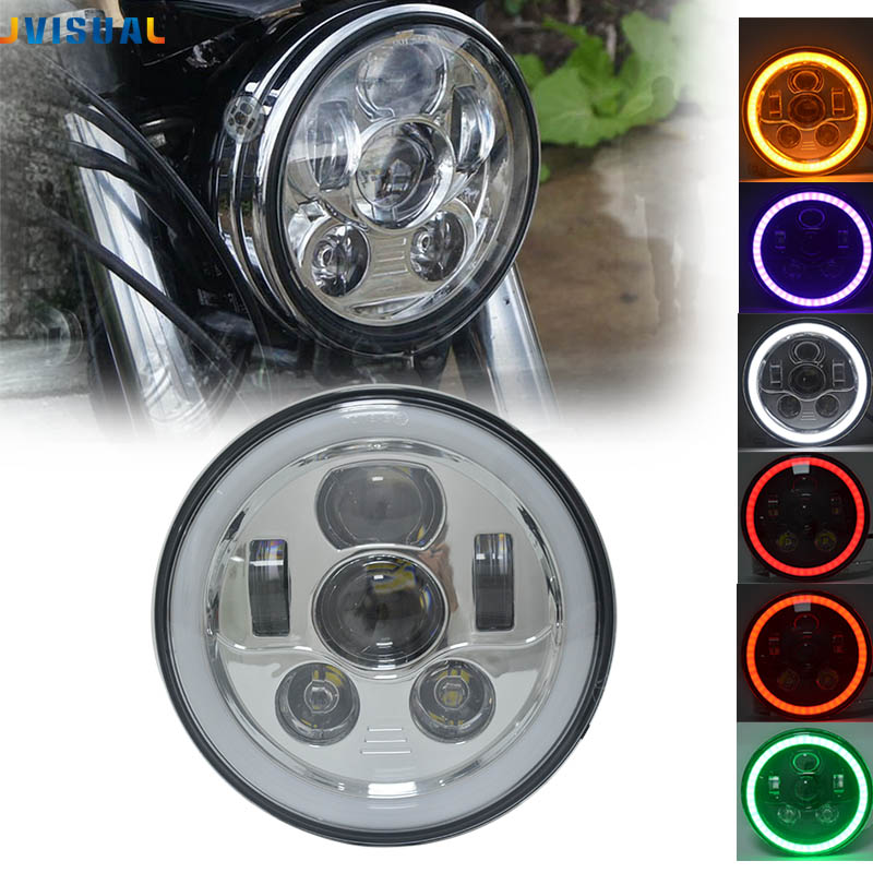 7 pouces H4 H13 Led pour Harley moto phare avec Halo Angel Eye DRL lumières pour Harely Softail Dyna Sportster
