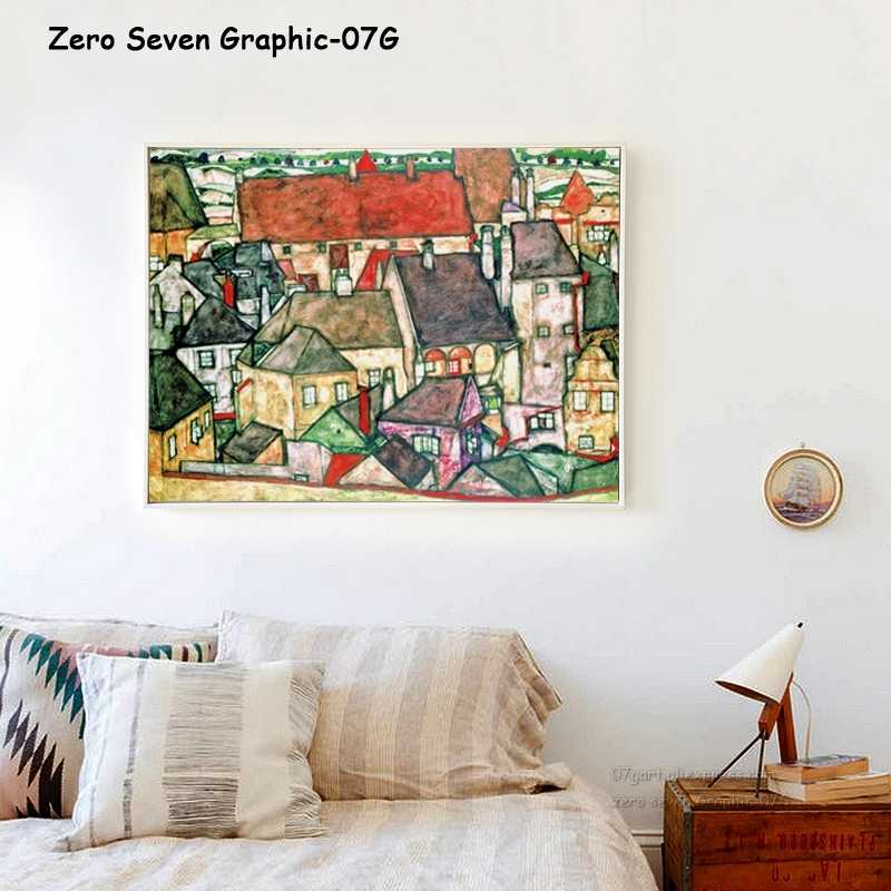 07G Egon Schiele Abstract Retro Oil Painting Yellow Town A4 A3 A2 Canvas Art Print Poster Picture Wall House Decoration Murals