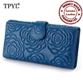 Luxurious 100% Genuine Leather Multi-function Casual and Simple Rose Style Women Organizer Wallets Brand Female Clutch Purses