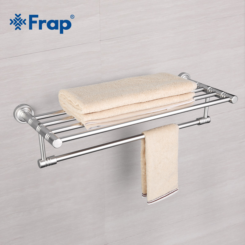 Frap Wall Mounted Space Aluminum Surface Towel Bars Bathroom Towel Hanger Bathroom Accessories Towel Rack F3724 different colors wall mounted clothes hook bathroom towel hanger crystal