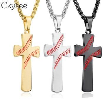 dd5329b10912 Ckysee hombres Cruz de béisbol del deporte de la colgante collares de oro  Jesús grabado de acero inoxidable collar de cadena joyería religiosa