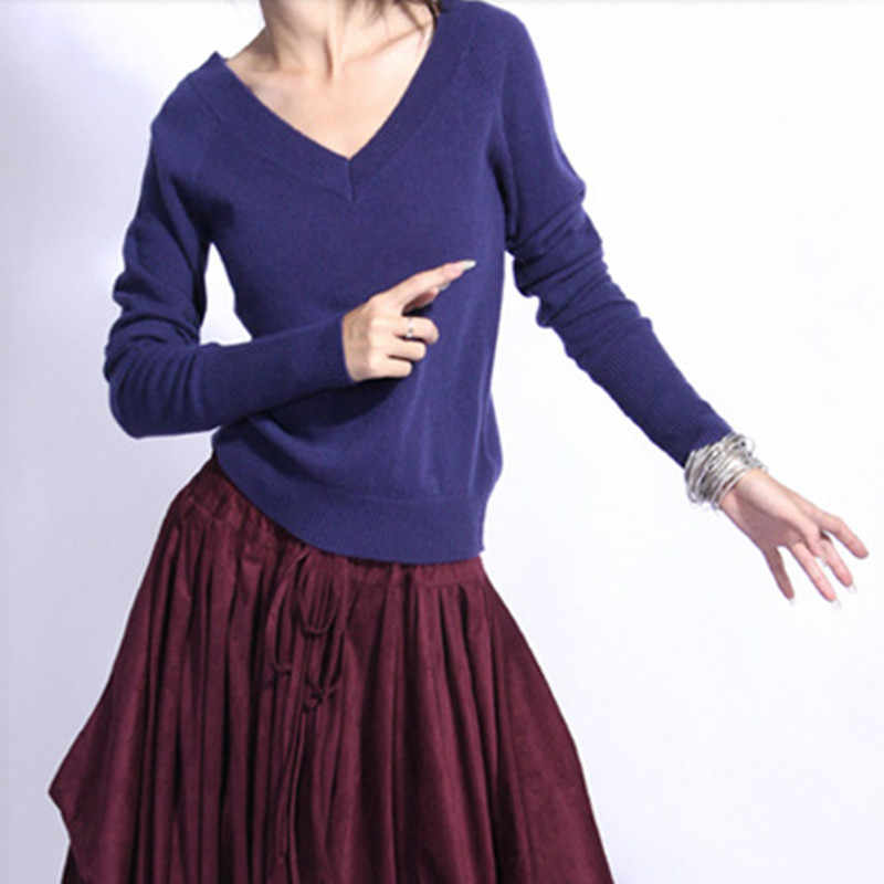 2018 new fashion front and rear V-neck Cashmere Sweater bottoming Slim Wool Sweater Women Sexy Sweater and pullovers