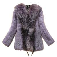 Бесплатная доставка, пальто из натурального кроличьего меха с большим воротником, куртка из натурального кроличьего меха, женская короткая