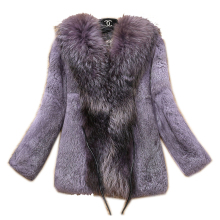 Free Shipping Genuine Rabbit Fur Coat with big collar natural rabbit fur jacket Women short coat raccoon