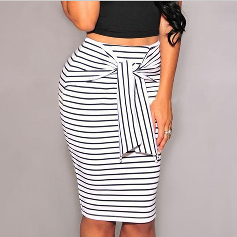 2018 Summer Women Stripe Pencil Skirts Sexy Bodycon Long Skirt Fashion High Waist Bow Tie Skirt Big Size White Black Female 2XL image