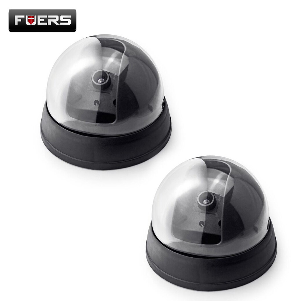 Fuers 2pcs Home Security Fake Camera Indoor Outdoor Surveillance CCTV Security Dummy Dome Camera Red LED Flash Simulated Camera fake dummy camera outdoor waterproof security video surveillance flash false speed dome camera housing decoy cctv safe home cam
