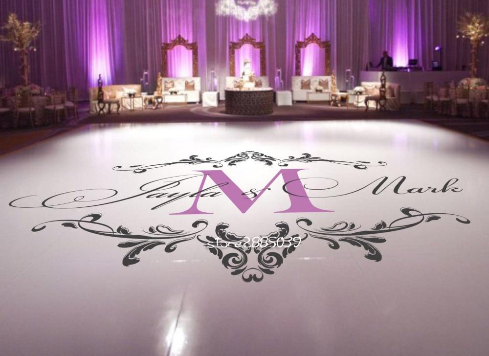 Vinyl Vloer Coupons : Wedding dance floor stickers custom names available vinyl floor