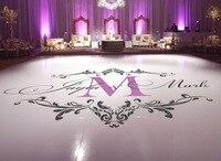Custom Names Wedding Floor Stickers Dance Party Vinyl Floor Decals Removable Wedding Floor Monogram Waterproof Sticker ZA101C