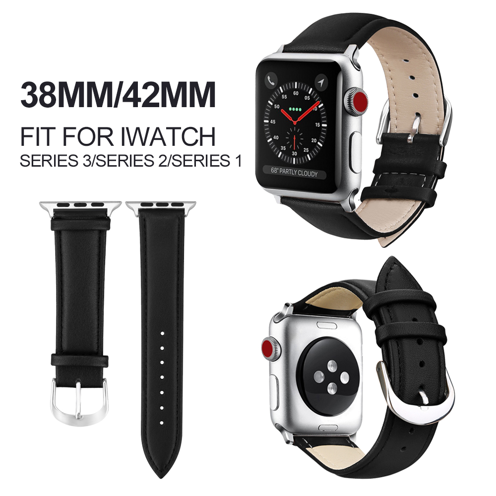MU SEN Genuine Leather for iwatch bracelet Apple Watch Band 42mm 38mm Sport Bracelet For Series 1&2 watch strap istrap black brown red france genuine calf leather single tour bracelet watch strap for iwatch apple watch band 38mm 42mm