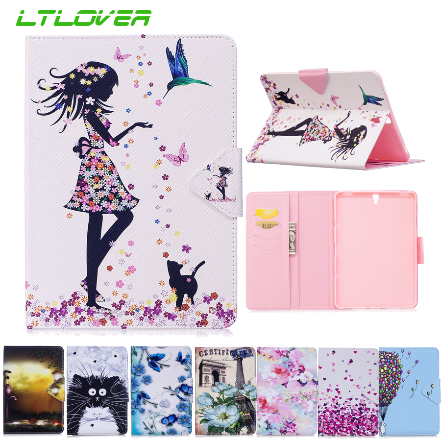 Cartoon Painted Leather Case For Samsung Galaxy Tab S3 9.7 T820 T825 Tablet Cover For Samsung Tab S3 T820 Protective Tablet Case new luxury pu leather case for samsung galaxy tab s3 9 7 t820 t825 flip stand cover tablet case for samsung galaxy tab s3 t820
