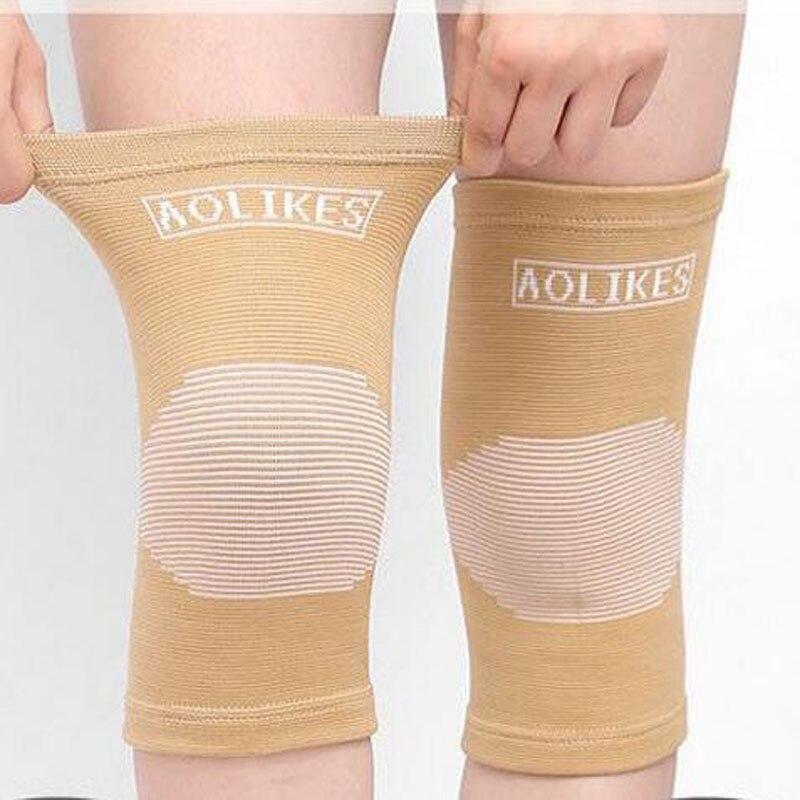 1 Paar Elastische Knie Guard Voor Yoga Skate Dansen Ademende Badminton Knie Protector Warm Gestreepte Kneepad Sport Veiligheid Ondersteuning
