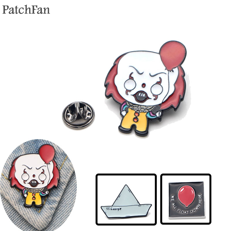 Apparel Sewing & Fabric Patchfan Stephen Kings It Clown Zinc Alloy Tie Pins Badges Para Shirt Bag Clothes Cap Backpack Shoes Brooches Badge Medal A1309 To Win A High Admiration