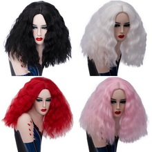 цена на Middle Part Puffy Short Curly Wig Cosplay Black White Red Pink Blonde Synthetic Hair Halloween Costume Party Wigs For Women