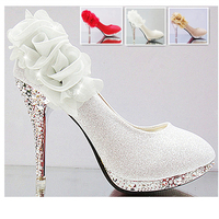 Autumn Women Wedding Bridal Prom Appliques Flowers Crystal Gold Silver Pink 3 Inch Thin High Heels