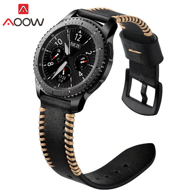 Genuine Leather Watchband for Samsung Gear S3 Classic Frontier 22mm Sewing Design 2018 New Replacement Bracelet Strap Watch Band silicone sport watchband for gear s3 classic frontier 22mm strap for samsung galaxy watch 46mm band replacement strap bracelet